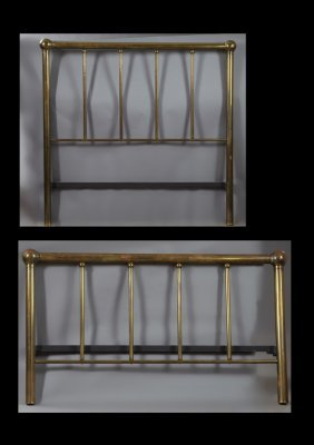 Contemporary Brass Double Headboard And Footboard, 20th