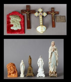 Group Of Eleven French Provincial Religious Items, 19th