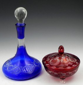 Two Pieces Of Glass, 20th C.- Ruby Bohemian Glass