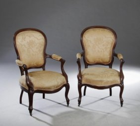 Pair Of American Rococo Revival Carved Rosewood
