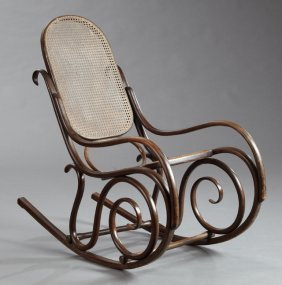French Caned Bentwood Rocking Armchair, 20th C., With A