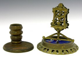 Two Smoking Items: Bronze Match Box Holder, 19th C.,