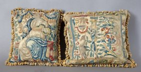 Pair Of Needlepoint Pillows, Constructed Of 19th C.