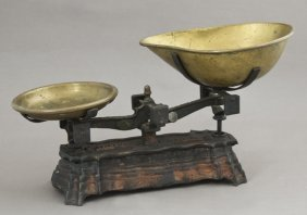 Brass And Cast Iron Double Beam Store Balance Scale,