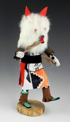 "Kachina Doll, 20th C, ""wolf,"" Signed P.b., H.- 12 In.,"