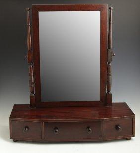 English Edwardian Banded Mahogany Dressing Mirror, C.