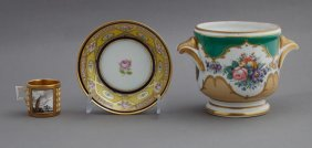 Three Pieces Of Porcelain, Consisting Of A Sevres Style