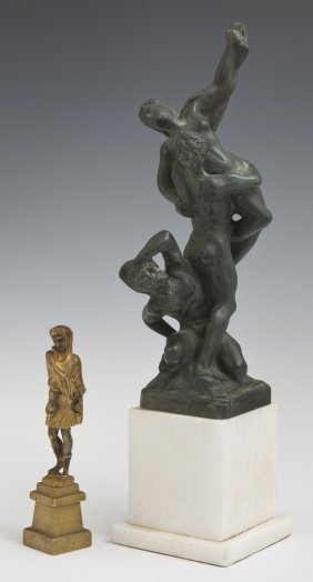 Two Cabinet Bronzes, 20th C., Consisting Of A Patinated