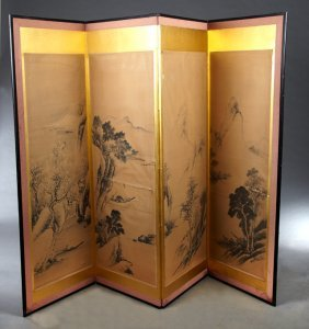 Contemporary Oriental Four Panel Watercolor Dressing