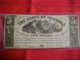 1864 $5 Georgia Confederate Bill