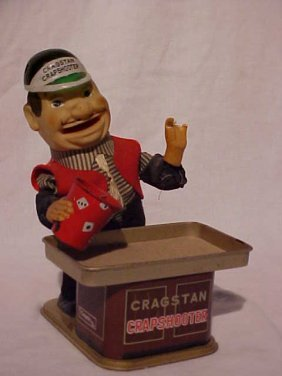 "Tin Litho ""Cragstan Crapshooter"" Toy"