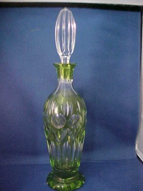 Green Cut To Clear Bohemian Decanter.