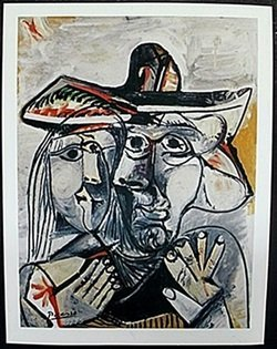 """Lithograph """"kissing Faces"""" After Pablo Picasso"""