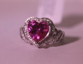 Exquisite Sterling Silver Ring With Lab Ruby