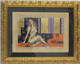 Mixed Media Original On Paper By Gustave Klimt