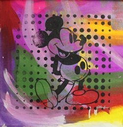 "Original Acrylic On Canvas ""vintage Mickey"" By Gail"