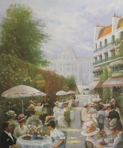 Lithograph The High Noon Pleasure Of Parisians - Rene