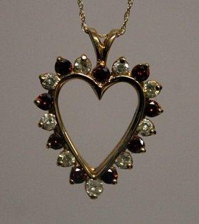 14kt Gold, Orange Sapphire & Diamond Pendant Necklace