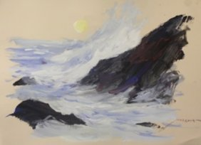 """Original Watercolor On Paper """"high Tides"""" By Michael"""
