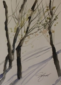 "Original Watercolor On Paper ""winter Trees"" By Michael"