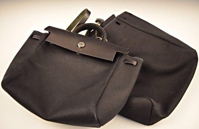 hermes black cloth handbag herbag