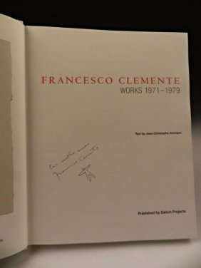 Francesco Clement Signed Book With Original Drawing
