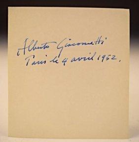 Alberto Giacometti Signed