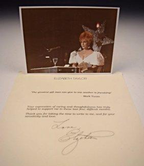 Elizabeth Taylor Signed Letter