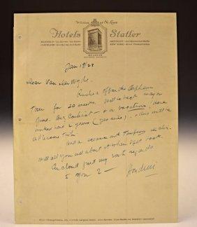 Houdini Signed Letter