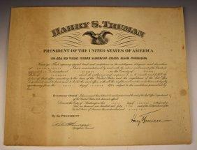 Harry S. Truman Signed Document