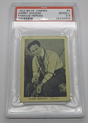 Harry Houdini 1922 Boys' Cinema Famous Heroes Card