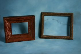 Unknown. Two Tramp Art Frames. Carved Wood. Approx