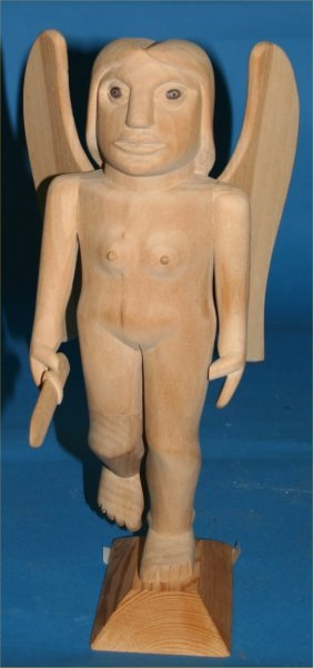 "Donny Tolson-Outsider Art-""Fat Angel"" Carved Wood"