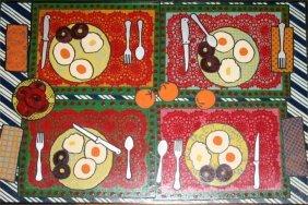 """Margaret Wenstrup-Outsider Art-""""Breakfast"""" Enamel O"""