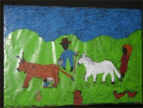 """Hazel Kinney-Outsider Art-""""Farmers"""". Paint On Poste"""
