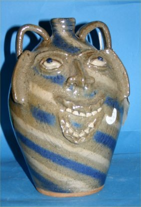 "Steve Abee-Outsider Art-""Face Jug"" Fired And Glazed"