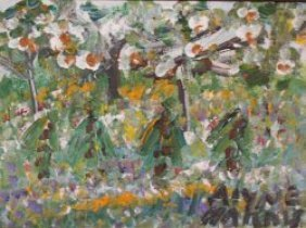 "Alyne Harris-Outsider Art-""Landscape"" Paint On Can"