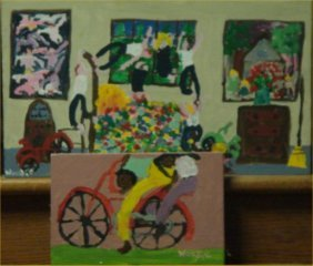 "Woodie-Outsider Art-""Untitled"" 2pc Lot,paint On Woo"