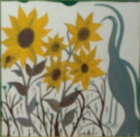 "Mose Tolliver-Outsider Art-""Sunflowers"" Paint On Wo"