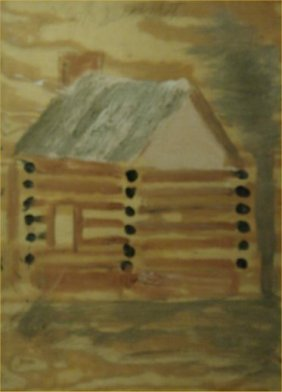 "Jimmy Lee Sudduth-Outsider Art-""Log Cabin"" Mud On B"