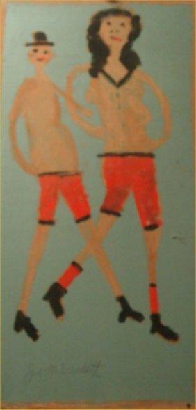 "Jimmy Lee Sudduth-Outsider Art-""Couple"" Mud On Boar"