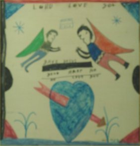 "RA Miller-Outsider Art-""Lord Love You"" Paint On Woo"