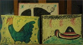 RA Miller-Outsider Art-3 Piece Lot, Paint On Board