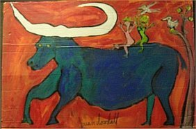 "Brian Dowdall-Outsider Art-""Blue Ox"" Paint On Card"