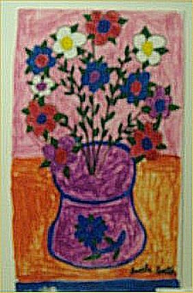"Lucille Smith-Outsider Art-""Flowers"" Marker On Pap"