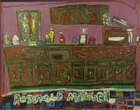 "Reginald Mitchedd-Outsider Art-""Bar"" Paint On Canv"