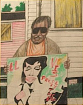 "Roy Ferdinand-Outsider Art-""Elvis"" Marker On Poste"