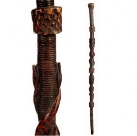 Carved 4 Snakes Folk Cane-C. 1875-1900-A Carved Can