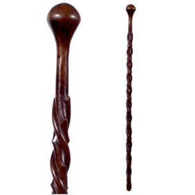 Twin Snakes-C. 1920-A One Piece Carved Cane With A