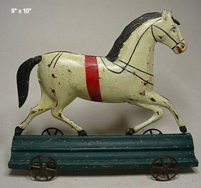 American Fallows Tin Horse Pull Toy
